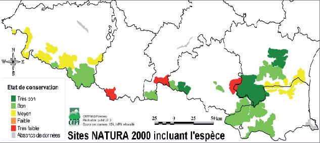 Répartition géographique de l'aigle royal dans les sites Natura 2000 des Pyrénées