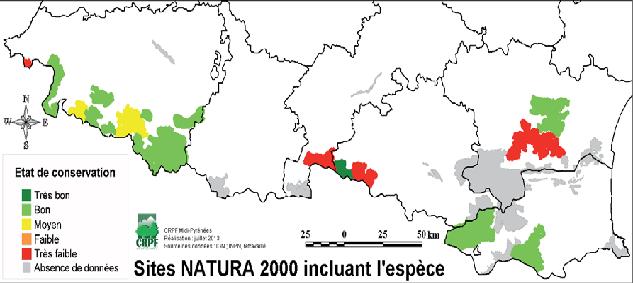 Répartition géographique du vautour fauve dans les sites Natura 2000 des Pyrénées