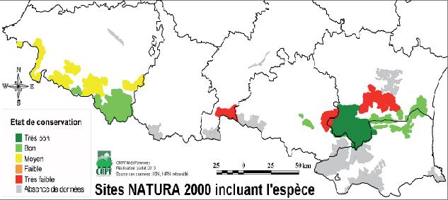 Répartition géographique du vautour percnoptère dans les sites Natura 2000 des Pyrénées