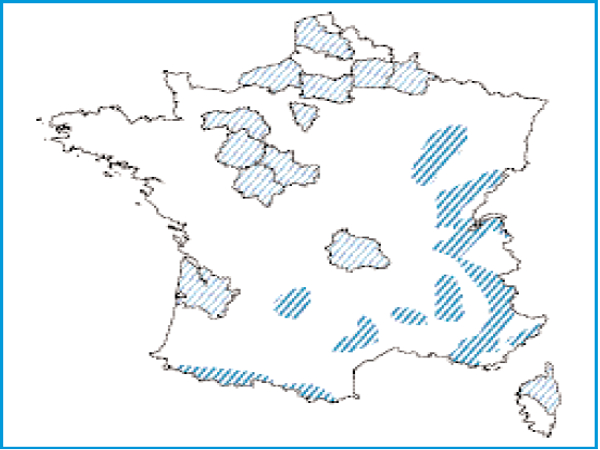 Répartition géographique des sources pétrifiantes en France