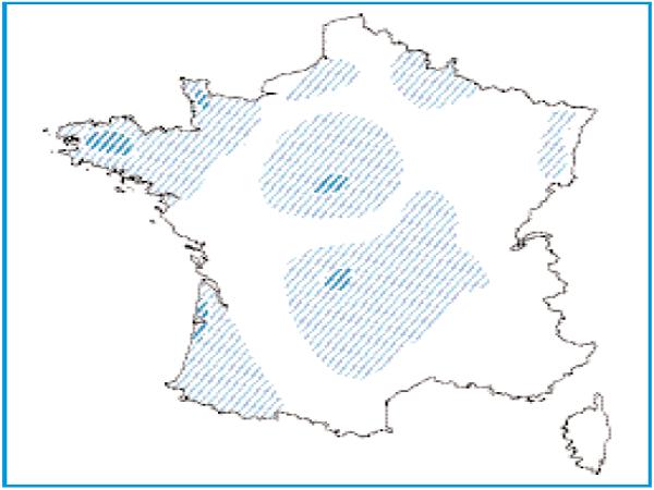 Répartition géographique des dépressions sur substrat tourbeux en France