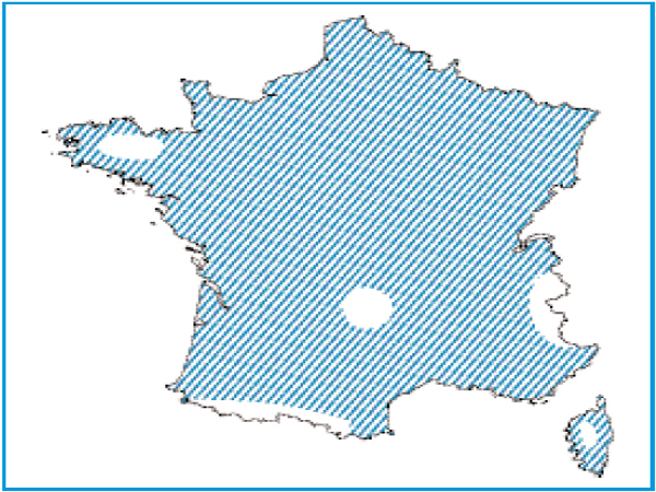 Répartition des lacs eutrophes naturels en France