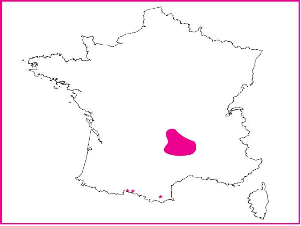 Répartition des Prés à molinie massif central