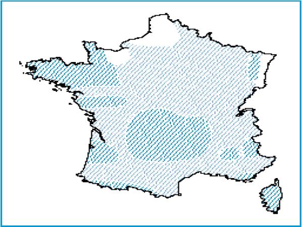 Répartition des rivières à renoncules oligotrophes acides