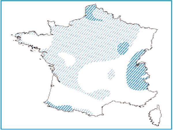 Répartition géographique des tourbière basses alcalines en France