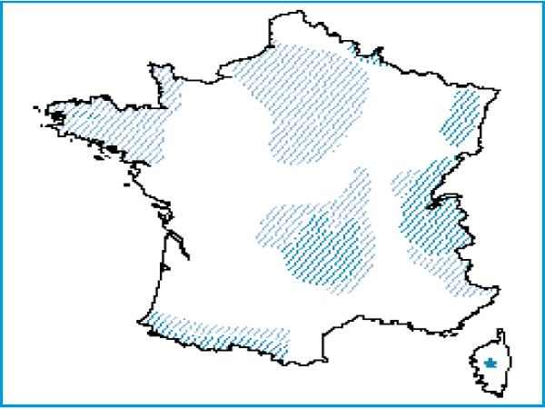 Répartition des tourbières hautes actives en France