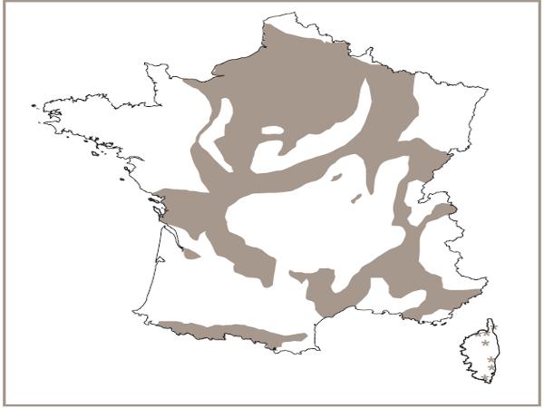 Répartition géographiqe des grottes non-exploitées par le tourisme